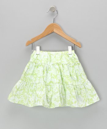 Green Damask Tiered Skirt - Infant, Toddler & Girls