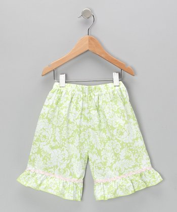 Green Damask Ruffle Shorts - Infant & Girls