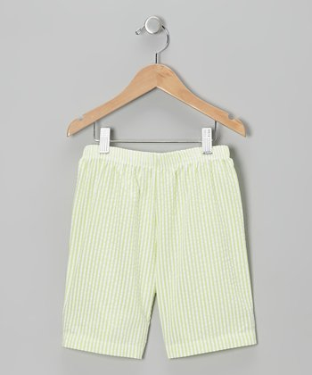 Lime & White Seersucker Shorts - Infant & Toddler