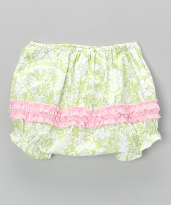 Green & Pink Damask Diaper Cover - Infant & Toddler