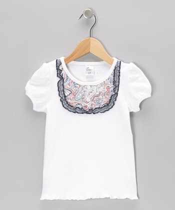 White Sailboat Bib Tee - Infant & Girls