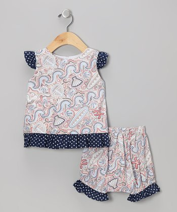 Navy & Red Seashell Riley Top & Bloomers - Infant