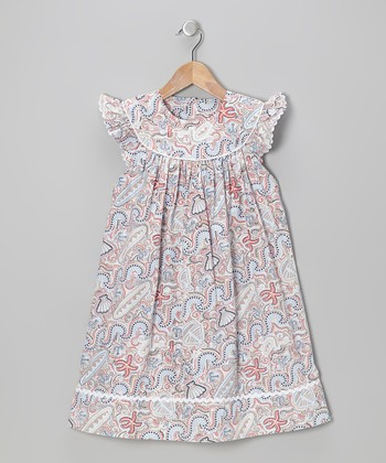 Navy & Red Seashell Angel-Sleeve Dress - Toddler