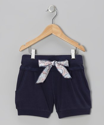 Navy Tie Shorts - Toddler & Girls