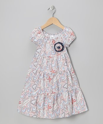 Navy & Red Seashell Peasant Dress - Infant, Toddler & Girls