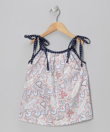 Navy & Red Seashell Molly Top - Infant, Toddler & Girls
