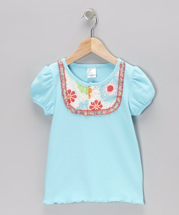 Blue Flower Yoke Tee - Infant, Toddler & Girls