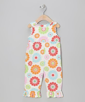 Sky Blue Floral Overalls - Infant & Toddler