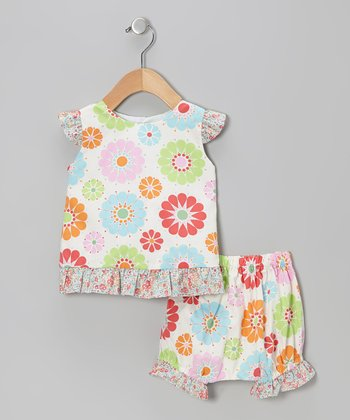 Sky Blue Floral Riley Top & Bloomers - Infant & Toddler