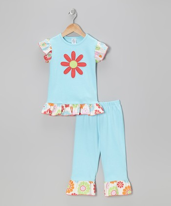 Blue Flower Tee & Pants - Infant, Toddler & Girls