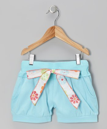 Blue Tie Shorts - Toddler & Girls