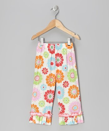 White Floral Ruffle Capri Pants - Infant, Toddler & Girls