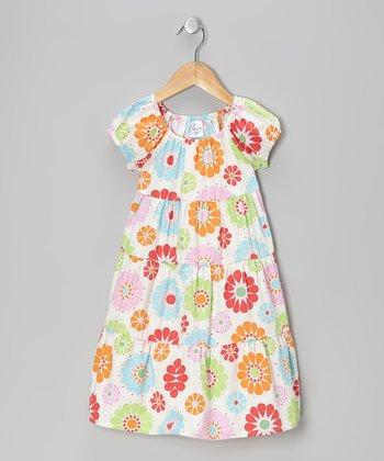 Sky Blue Floral Peasant Dress - Infant, Toddler & Girls