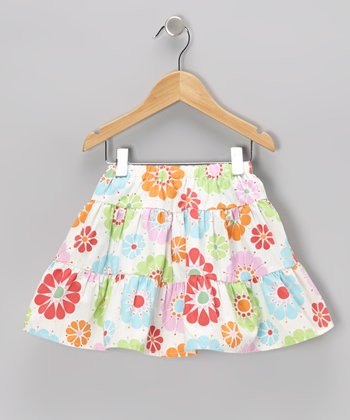Sky Blue Floral Tiered Skirt - Toddler & Girls
