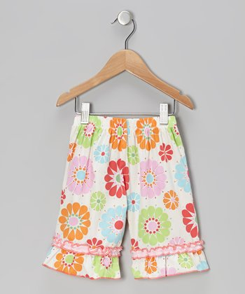 Sky Blue Floral Ruffle Shorts - Infant, Toddler & Girls