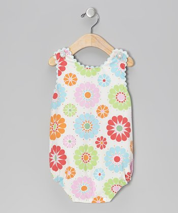 Sky Blue Floral Bubble Sunsuit - Infant
