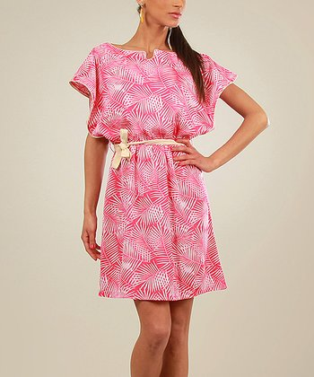 Magenta Palm Cape-Sleeve Dress