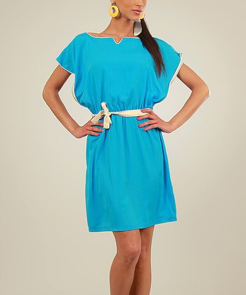Turquoise Cape-Sleeve Dress