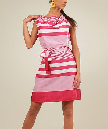 Fuchsia & White Stripe Cowl Neck Dress
