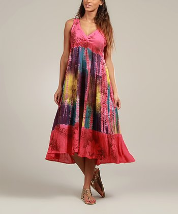 Fuchsia Tie-Dye Surplice Dress