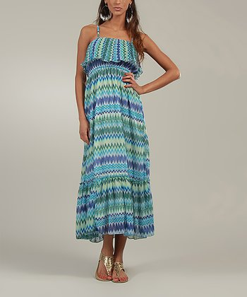 Blue & Teal Zigzag Maxi Dress
