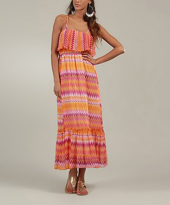 Pink & Orange Zigzag Maxi Dress