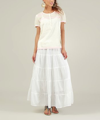 Cream & Pink Sheer Short-Sleeve Henley