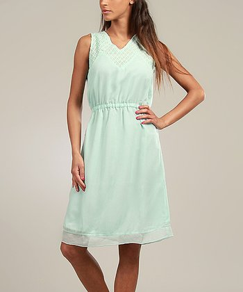 Aqua Lace-Collar Sleeveless Dress