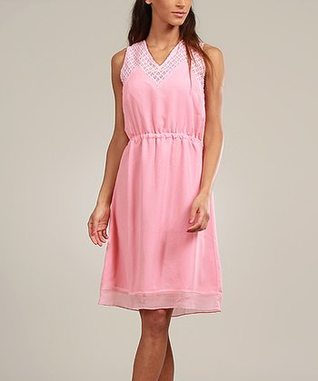 Pink Lace-Collar Sleeveless Dress
