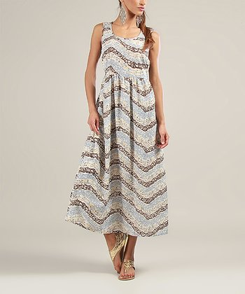 Blue & Brown Sleeveless Maxi Dress