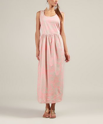 Pink & Cream Floral Sleeveless Maxi Dress