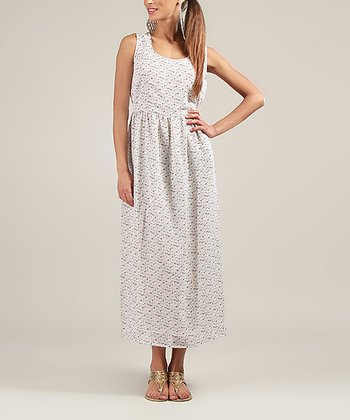 Cream & Blue Sleeveless Maxi Dress