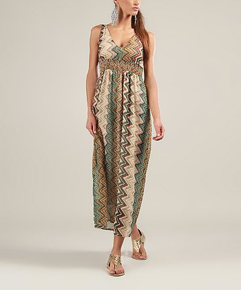 Green & Brown Zigzag V-Neck Maxi Dress
