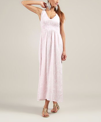 White & Pink Floral V-Neck Maxi Dress