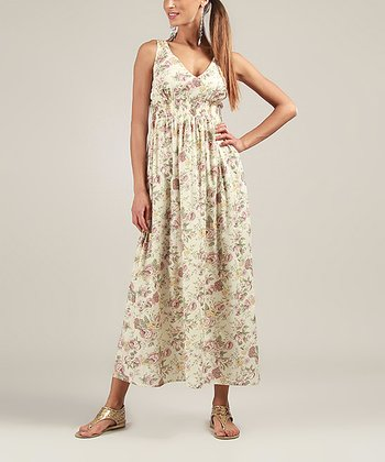 Yellow & Brown Floral V-Neck Maxi Dress