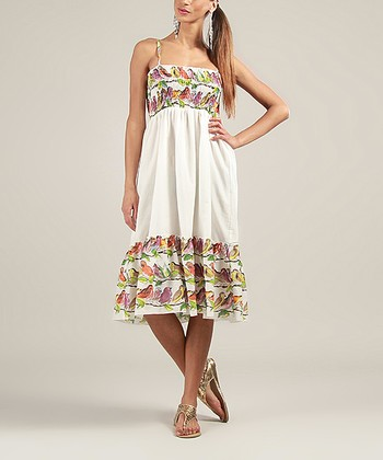 Ivory Shirred Bird Sleeveless Dress