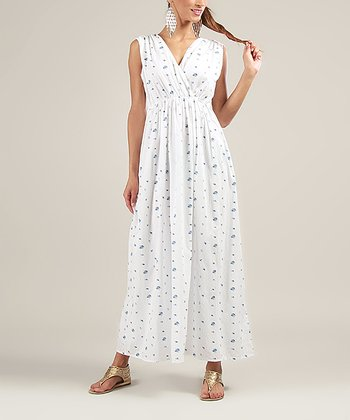 White Surplice Maxi Dress