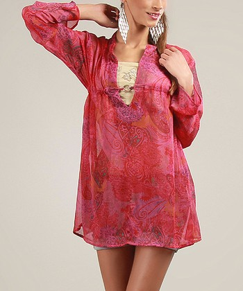 Pink Sheer Long-Sleeve Top