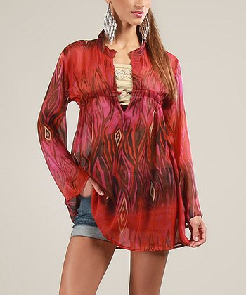 Red Sheer Long-Sleeve Top