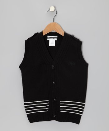 Black & White Stripe Sweater Vest - Toddler & Boys