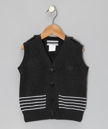 Gray & White Stripe Sweater Vest - Toddler & Boys