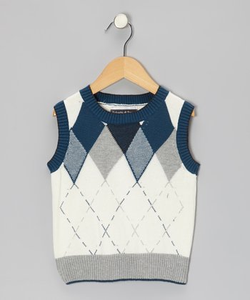 White & Teal Argyle Sweater Vest - Toddler & Boys