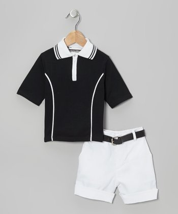 Black & White Polo & Shorts - Toddler & Boys