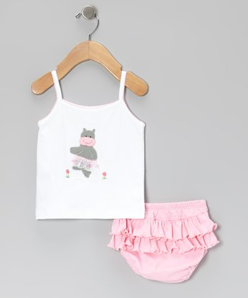 Pink Hippo Tank & Ruffle Diaper Cover - Infant