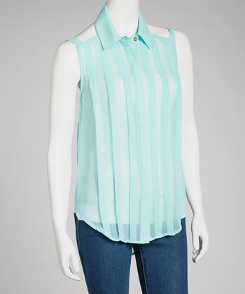 Mint Pleated Cutout Top