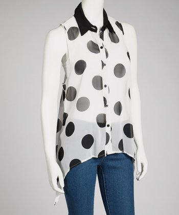 Black & White Sheer Polka Dot Sidetail Top