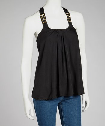 Black Studded Racerback Top