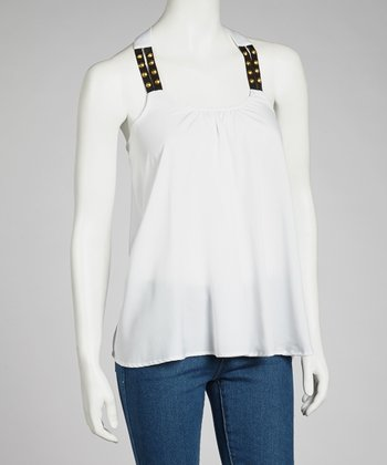 White Studded Racerback Top
