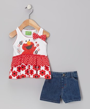 Red Elmo & Butterfly Dress & Jean Shorts - Infant