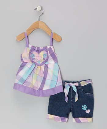 Purple Plaid Flower Heart Dress & Jean Shorts - Infant